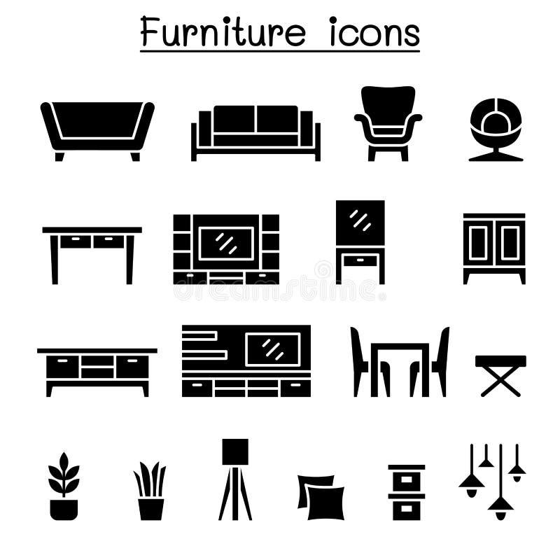 Het pictogramreeks van het meubilair royalty-vrije illustratie
