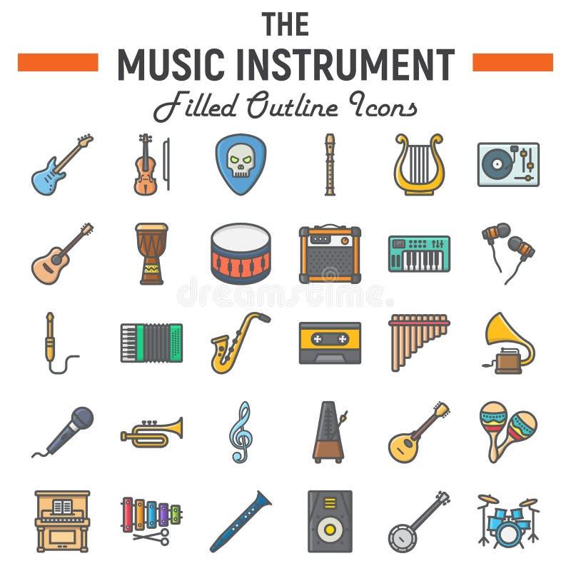 Het pictogramreeks van het muziekinstrumenten gevulde overzicht stock illustratie