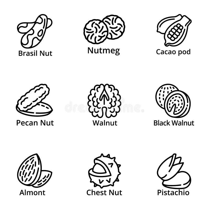 Het pictogramreeks van het notenvoedsel, overzichtsstijl royalty-vrije illustratie