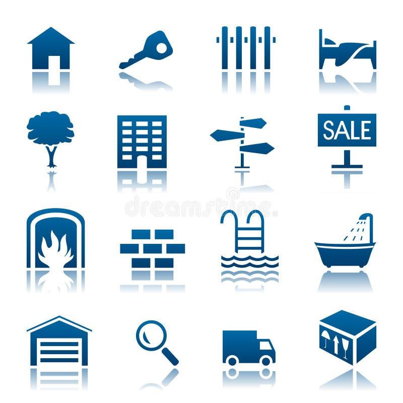 Het pictogramreeks van onroerende goederen vector illustratie