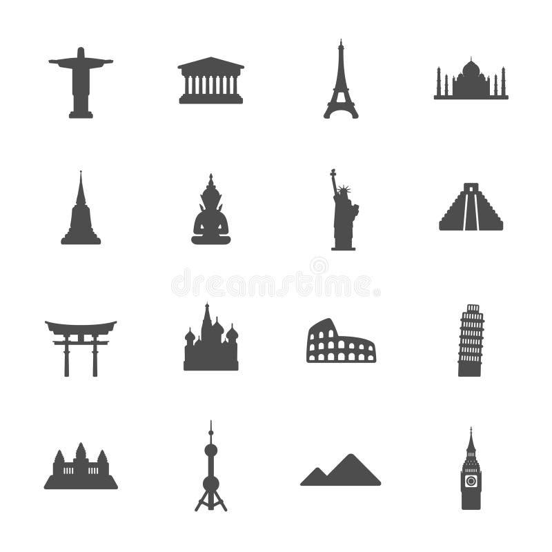 Het pictogramreeks van reisoriëntatiepunten vector illustratie