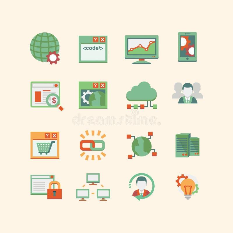 Het pictogramreeks van SEO & van het gegevensbestand royalty-vrije illustratie