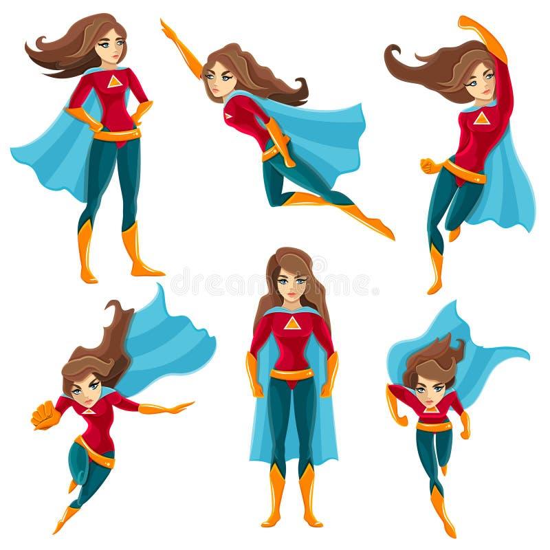 Het Pictogramreeks van Superwomanacties stock illustratie