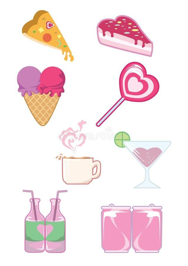 Het pictogramreeks van Valentine Food en van de Drank vector illustratie
