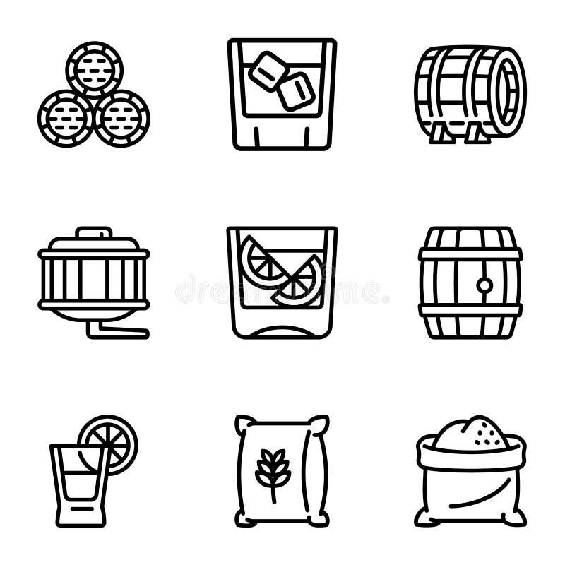 Het pictogramreeks van het whiskyvat, overzichtsstijl royalty-vrije illustratie