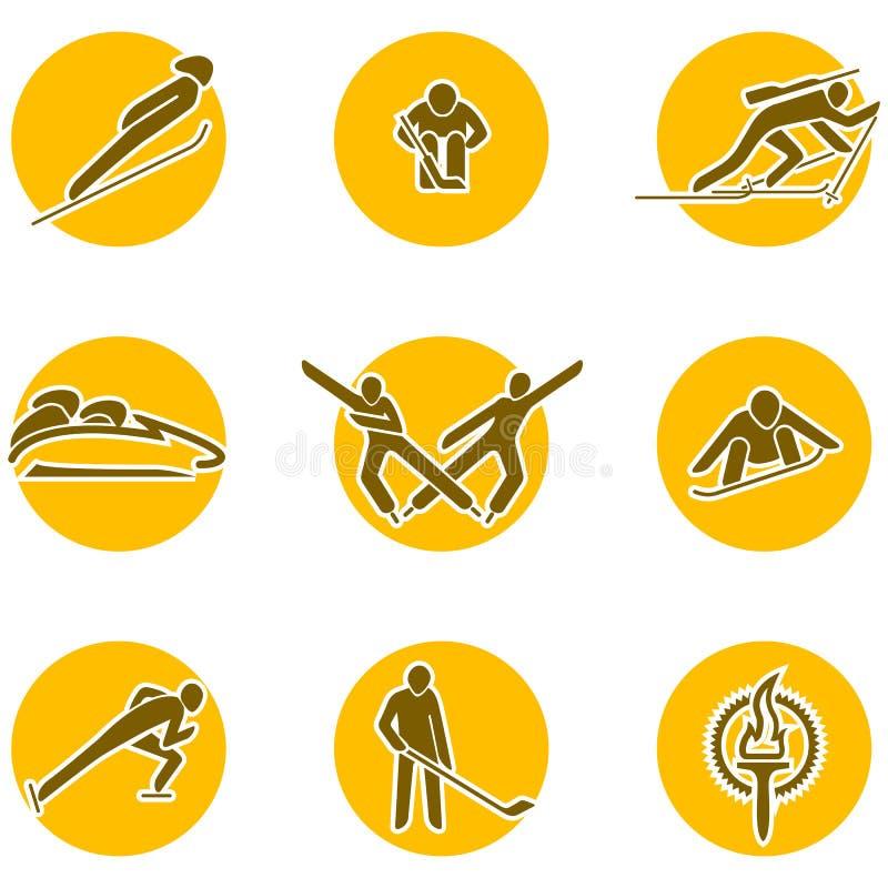 Het pictogramreeks van wintersporten stock illustratie
