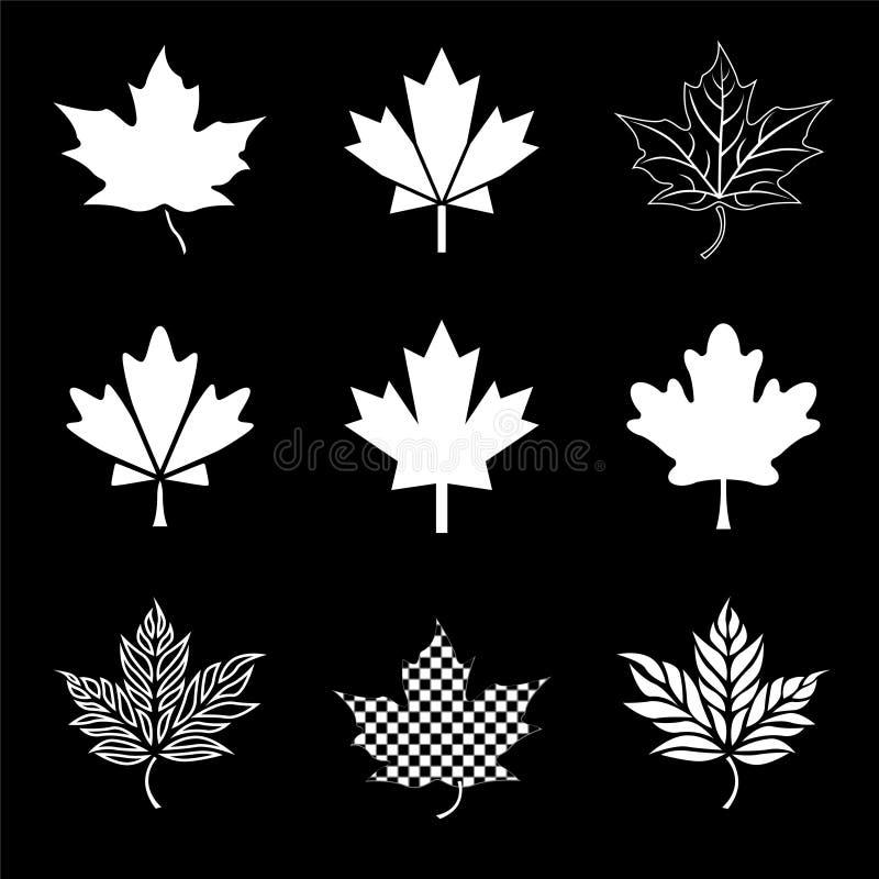 Het pictogramsilohouettes van het esdoornblad in wit op zwarte voor de vlagreeks van Canada bladeren stock illustratie
