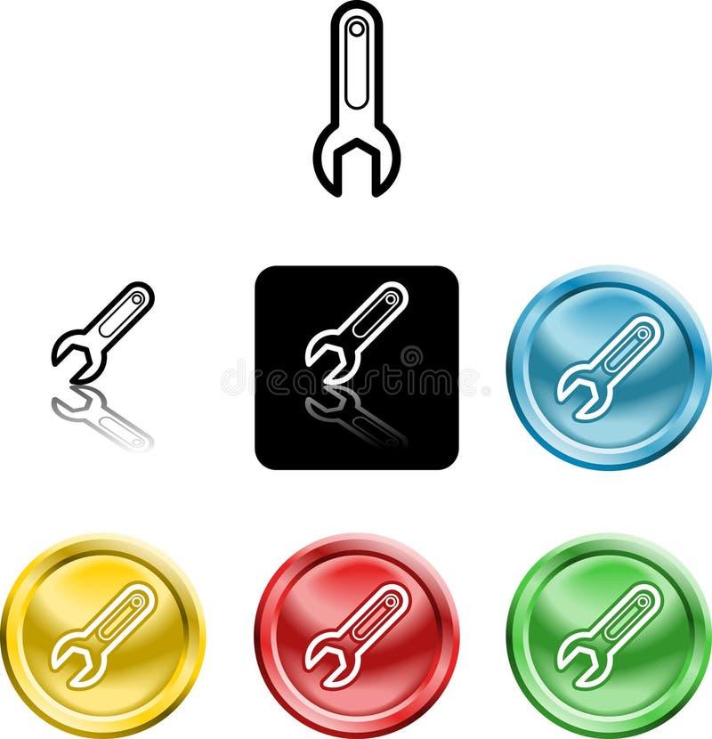 Het pictogramsymbool van de moersleutel royalty-vrije illustratie