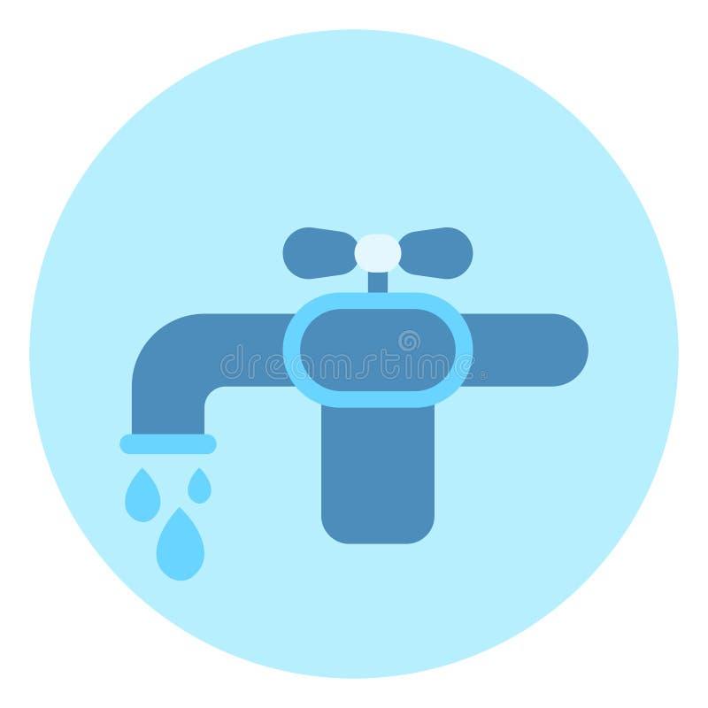 Het Pictogramtapkraan van de waterkraan op Blauwe Achtergrond stock illustratie