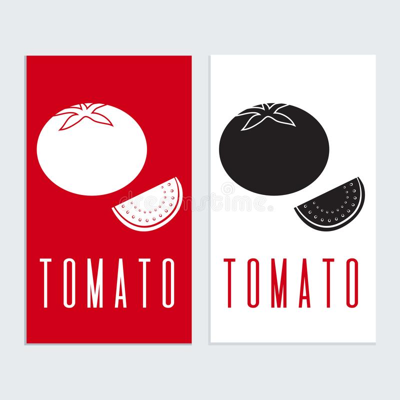 Het pictogramteken van het tomatenembleem tamplat Tomatensilhouet in zwart-wit royalty-vrije illustratie