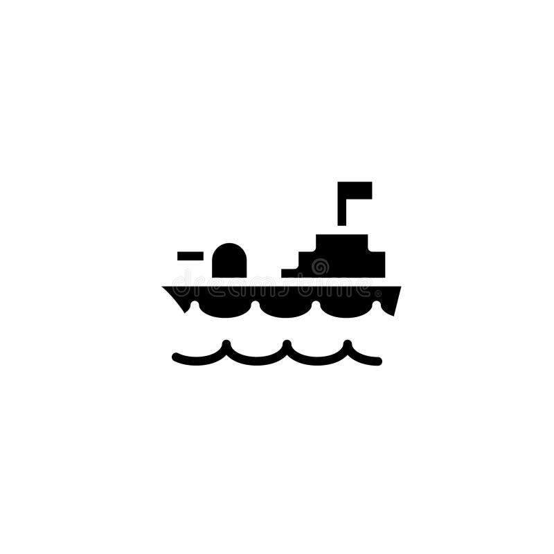 Het pictogramvast lichaam van het oorlogsschip voertuig en vervoerspictogramvoorraad royalty-vrije illustratie