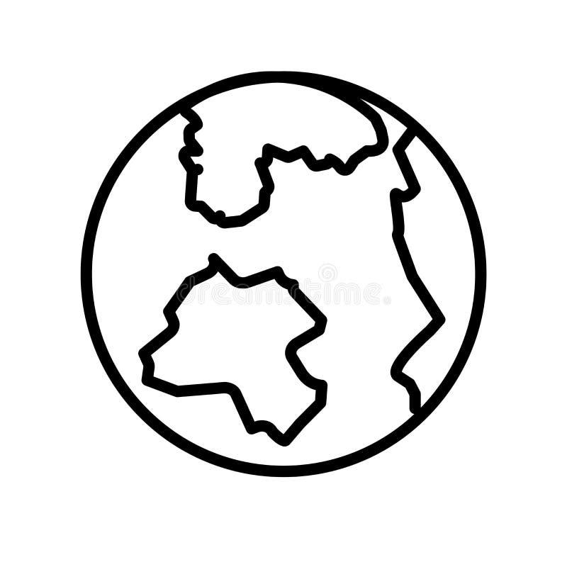 Het pictogramvector van het aardenet op witte achtergrond, het teken van het Aardenet, lijn of lineair teken, elementenontwerp in stock illustratie