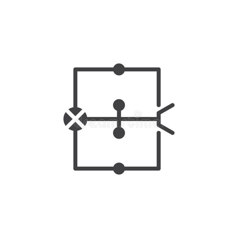 Het pictogramvector van het bedradingsdiagram stock illustratie