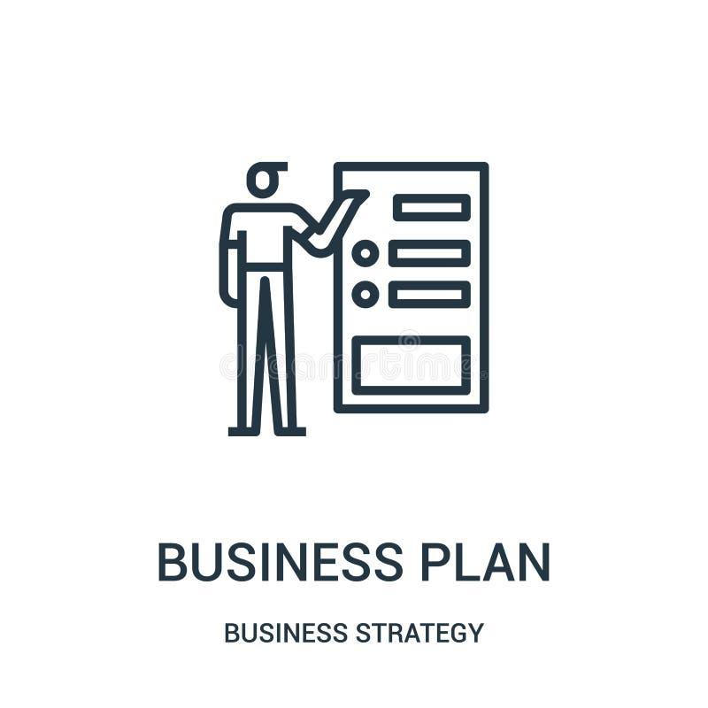 het pictogramvector van het businessplan van bedrijfsstrategieinzameling Dunne van het het businessplanoverzicht van lijn het pic stock illustratie