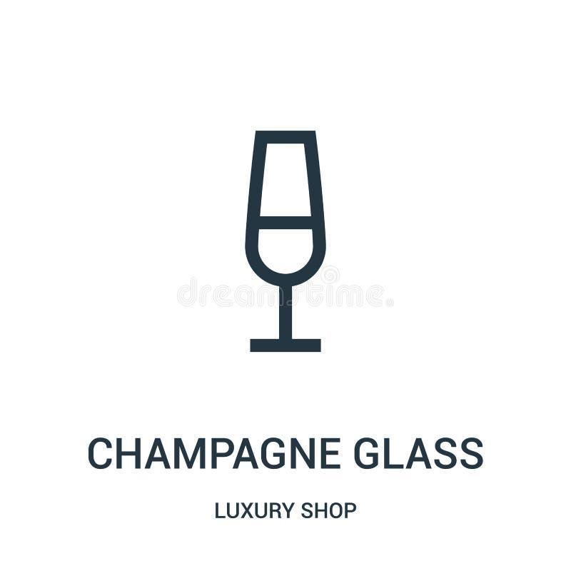 het pictogramvector van het champagneglas van de inzameling van de luxewinkel Dunne van het het glasoverzicht van de lijnchampagn vector illustratie