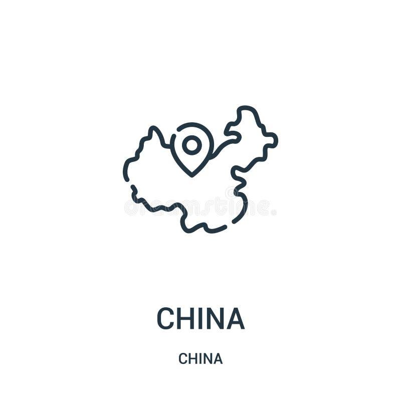 het pictogramvector van China van de inzameling van China De dunne van het het overzichtspictogram van lijnchina vectorillustrati stock illustratie