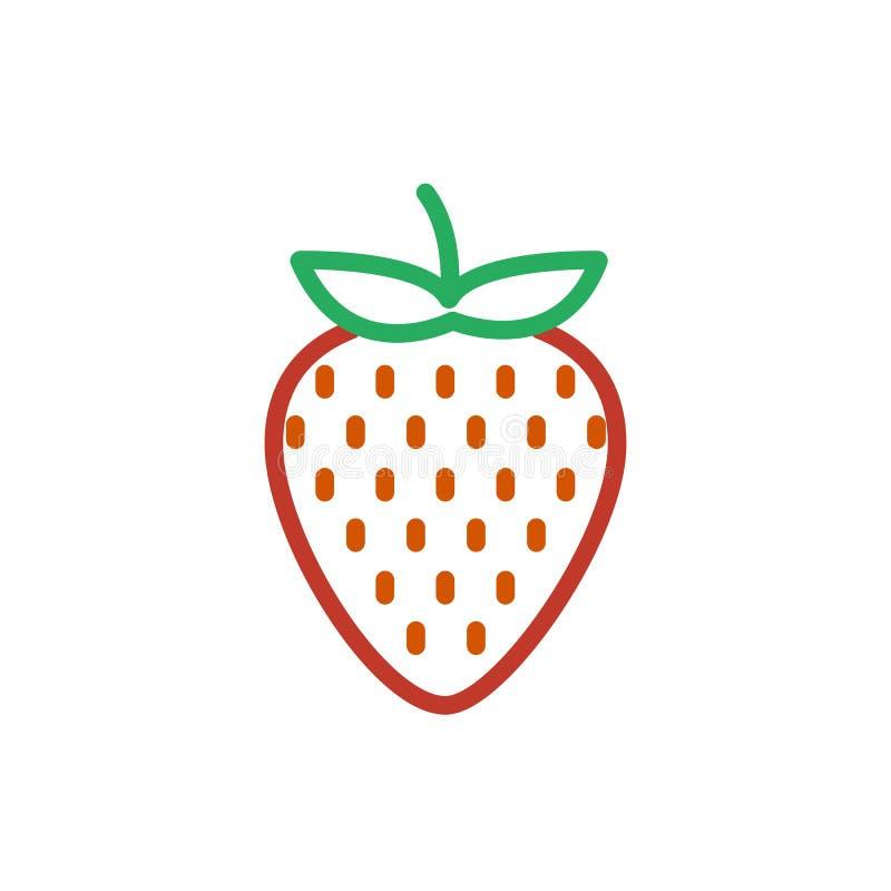 Het pictogramvector van de aardbeikleur Geïsoleerd lijnsymbool In vlakke rode het tekendesi van het aardbeioverzicht ui stock illustratie