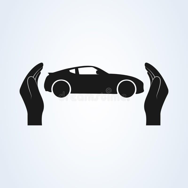 Het pictogramvector van de autobescherming Van de autoverzekering en botsing de concepten van de schadeverklaring van afstand royalty-vrije illustratie