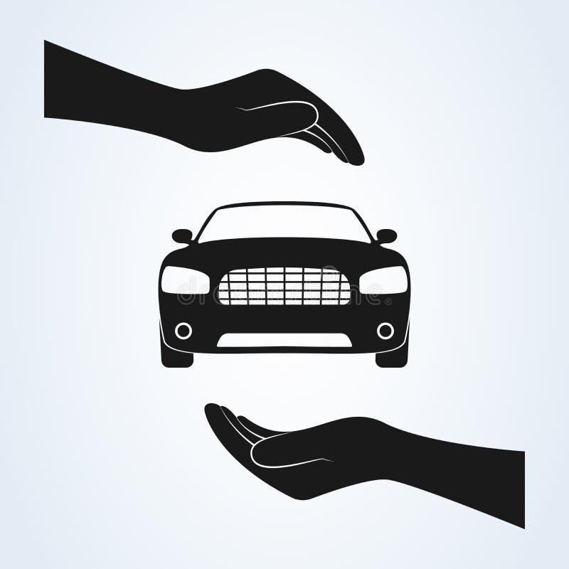 Het pictogramvector van de autobescherming Van de autoverzekering en botsing de concepten van de schadeverklaring van afstand vector illustratie