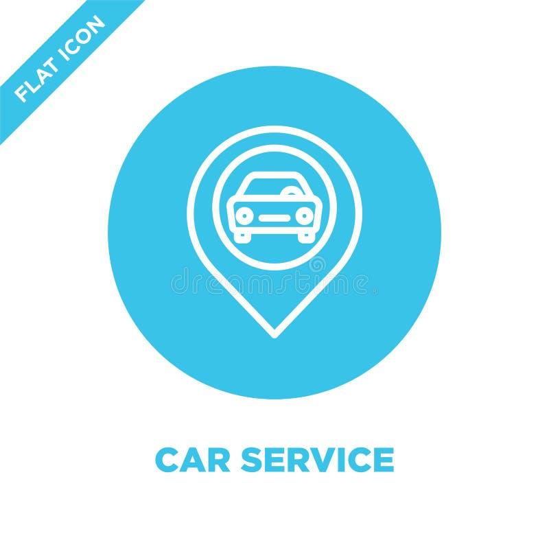 het pictogramvector van de autodienst Dunne van het de dienstoverzicht van de lijnauto het pictogram vectorillustratie het symboo royalty-vrije illustratie