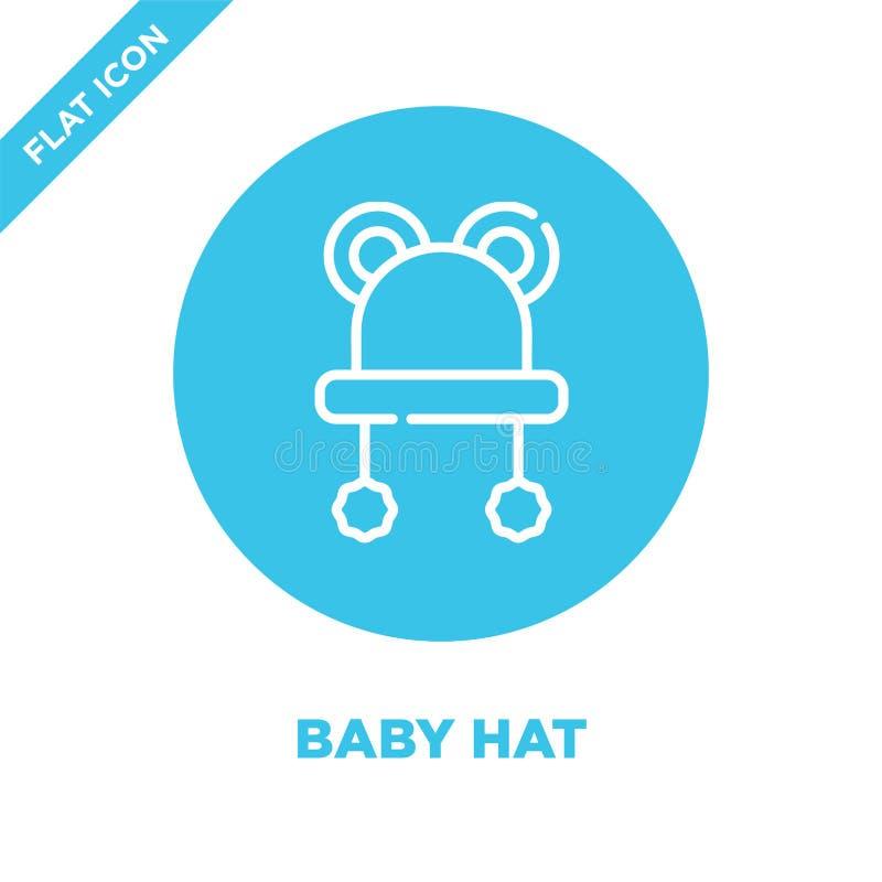 het pictogramvector van de babyhoed van de inzameling van het babyspeelgoed Dunne van het de hoedenoverzicht van de lijnbaby het  stock illustratie