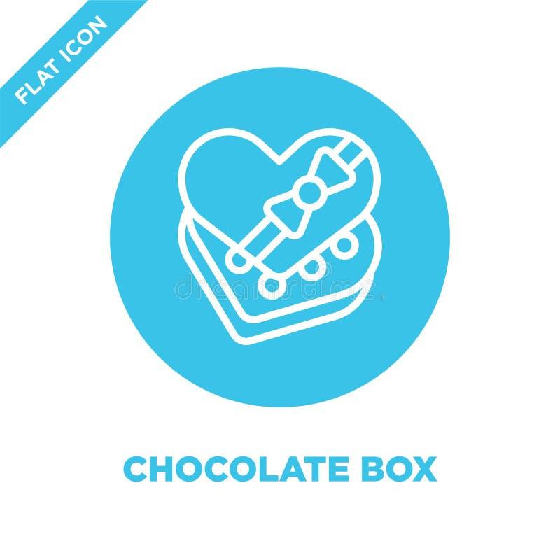 het pictogramvector van de chocoladedoos van liefdeinzameling Dunne van het de doosoverzicht van de lijnchocolade het pictogram v stock illustratie