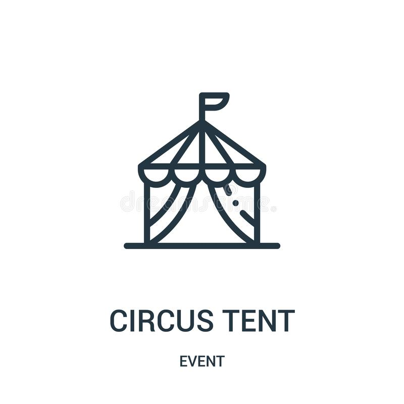 het pictogramvector van de circustent van gebeurtenisinzameling Dunne van het de tentoverzicht van het lijncircus het pictogram v royalty-vrije illustratie