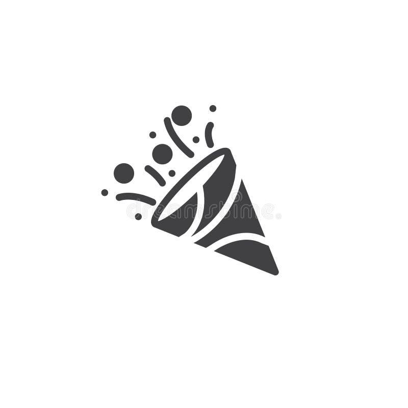 Het pictogramvector van de confettienpopcornpan royalty-vrije illustratie