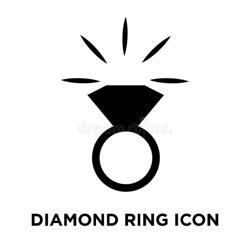 Het pictogramvector van de diamantring op witte achtergrond, conc die embleem wordt geïsoleerd stock illustratie