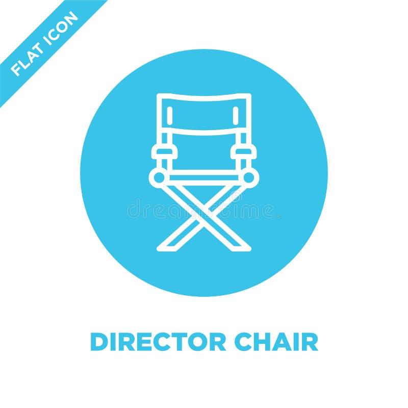 het pictogramvector van de directeursstoel van furnituresinzameling Dunne van het de stoeloverzicht van de lijndirecteur het pict royalty-vrije illustratie