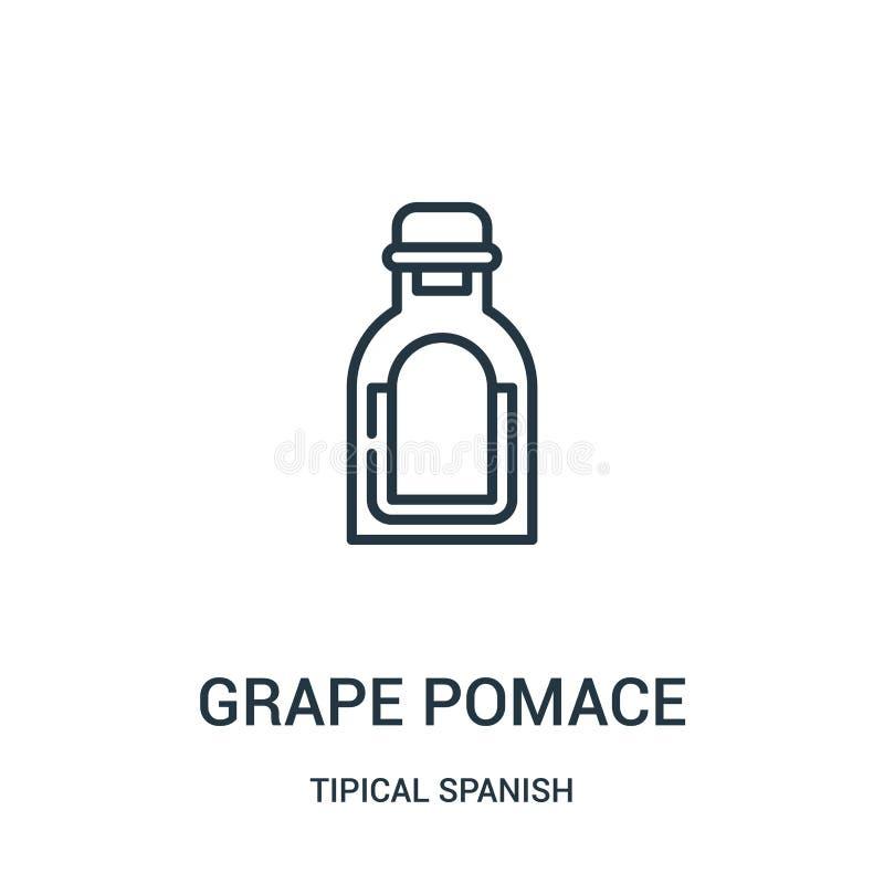 het pictogramvector van de druivenappelpulp van tipical Spaanse inzameling Dunne van het de appelpulpoverzicht van de lijndruif h vector illustratie