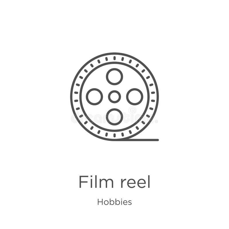 het pictogramvector van de filmspoel van hobbysinzameling Dunne van het de spoeloverzicht van de lijnfilm het pictogram vectorill stock illustratie