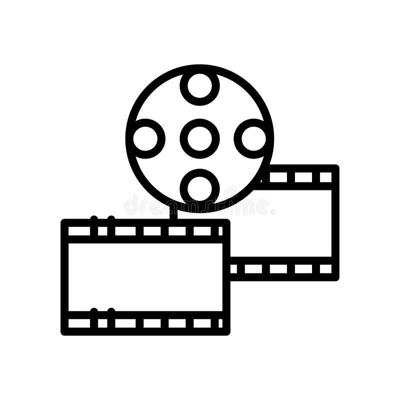 Het pictogramvector van de filmstrook op witte achtergrond, het teken van de Filmstrook, lijn en overzichtselementen in lineaire  royalty-vrije illustratie