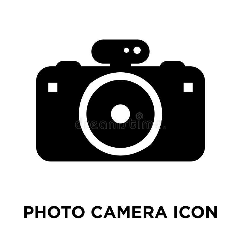 Het pictogramvector van de fotocamera op witte achtergrond, conc die embleem wordt geïsoleerd stock illustratie