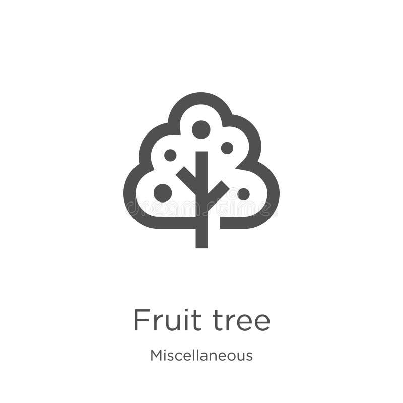 het pictogramvector van de fruitboom van diverse inzameling Dunne van het de boomoverzicht van het lijnfruit het pictogram vector royalty-vrije illustratie