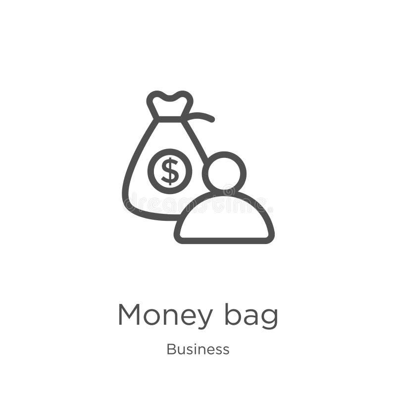 het pictogramvector van de geldzak van bedrijfsinzameling Dunne van het de zakoverzicht van het lijngeld het pictogram vectorillu stock illustratie