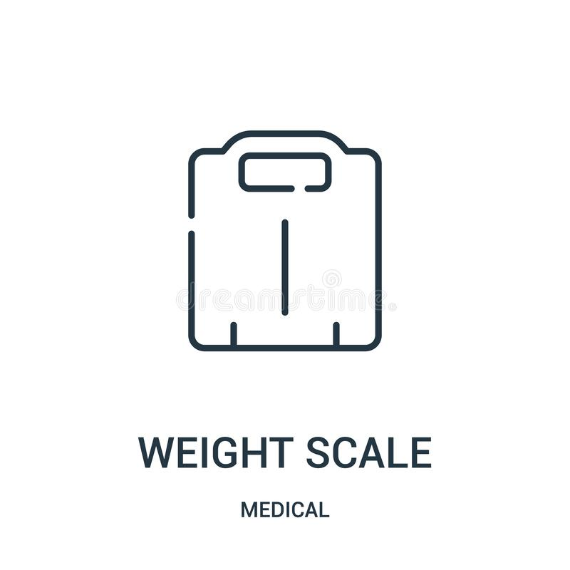 het pictogramvector van de gewichtsschaal van medische inzameling De dunne van het het overzichtspictogram van de lijndikteschaal vector illustratie