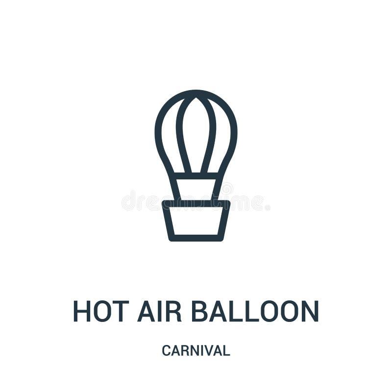 het pictogramvector van de hete luchtballon van Carnaval-inzameling Dunne van het de ballonoverzicht van de lijn hete lucht het p vector illustratie