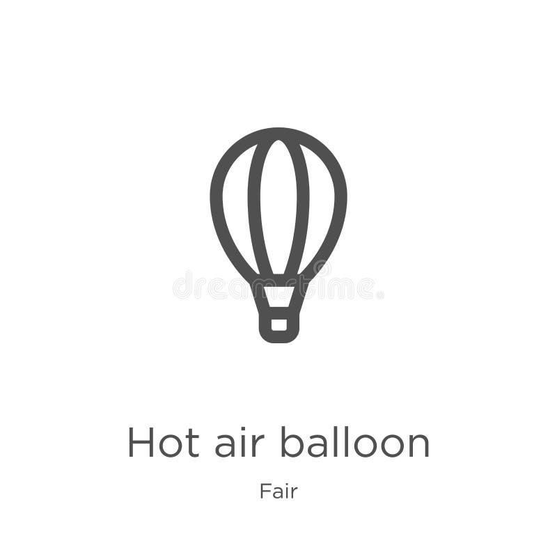 het pictogramvector van de hete luchtballon van eerlijke inzameling Dunne van het de ballonoverzicht van de lijn hete lucht het p stock illustratie