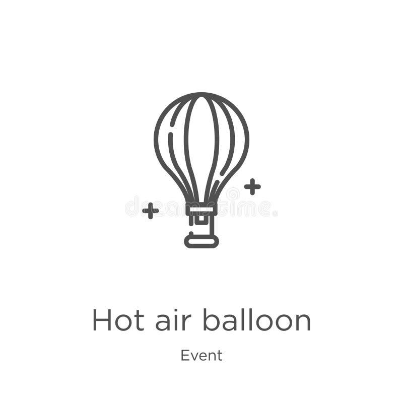 het pictogramvector van de hete luchtballon van gebeurtenisinzameling Dunne van het de ballonoverzicht van de lijn hete lucht het vector illustratie