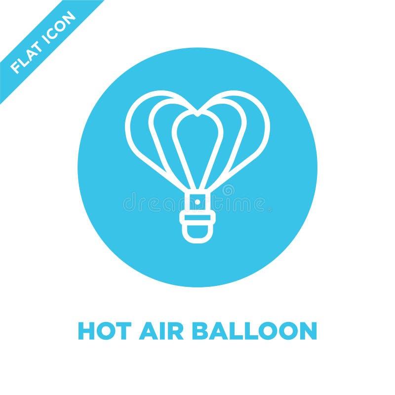 het pictogramvector van de hete luchtballon van liefdeinzameling Dunne van het de ballonoverzicht van de lijn hete lucht het pict royalty-vrije illustratie