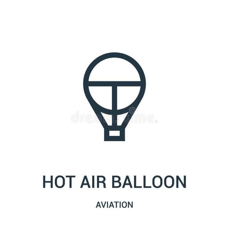 het pictogramvector van de hete luchtballon van luchtvaartinzameling Dunne van het de ballonoverzicht van de lijn hete lucht het  vector illustratie