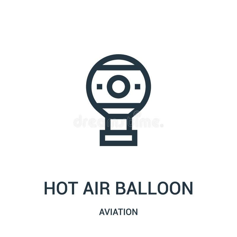 het pictogramvector van de hete luchtballon van luchtvaartinzameling Dunne van het de ballonoverzicht van de lijn hete lucht het  royalty-vrije illustratie