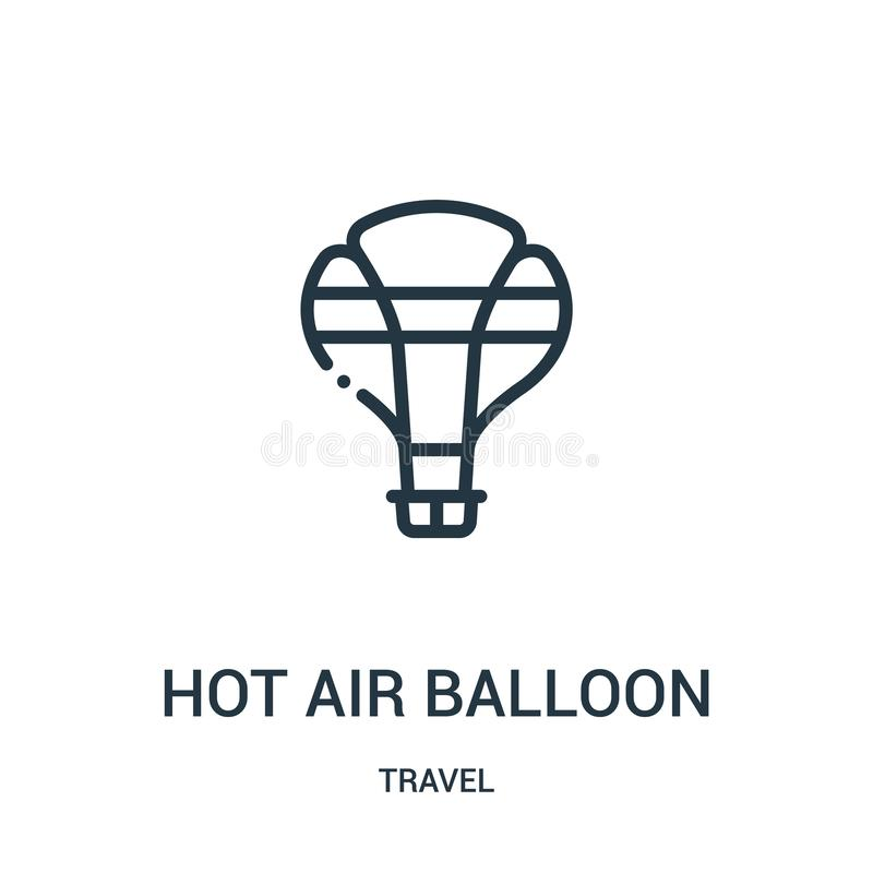 het pictogramvector van de hete luchtballon van reisinzameling Dunne van het de ballonoverzicht van de lijn hete lucht het pictog royalty-vrije illustratie
