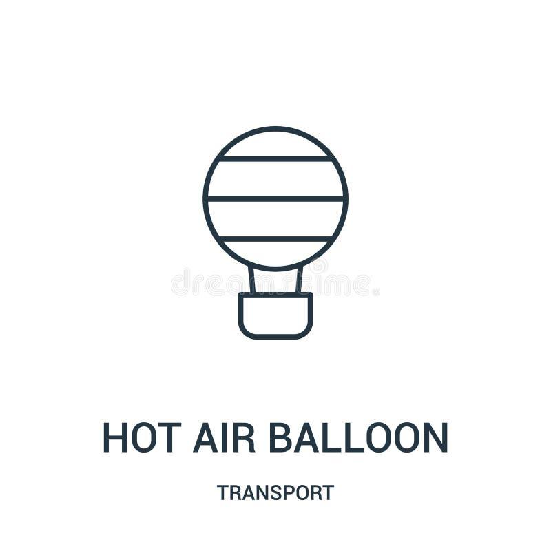 het pictogramvector van de hete luchtballon van vervoerinzameling Dunne van het de ballonoverzicht van de lijn hete lucht het pic royalty-vrije illustratie