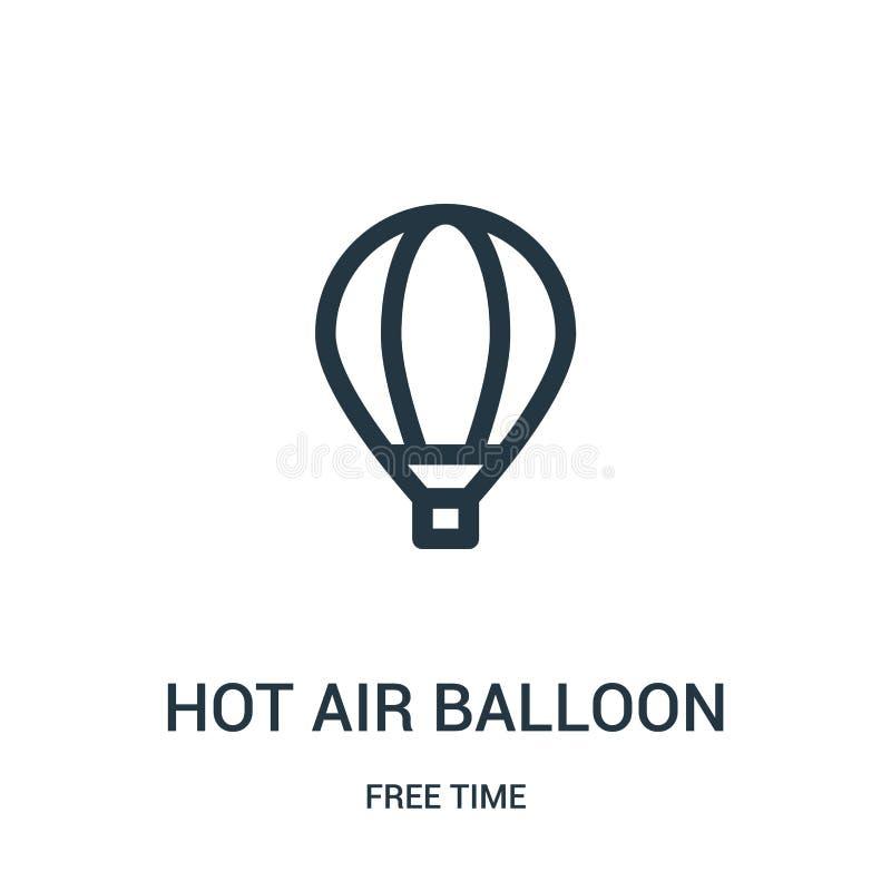 het pictogramvector van de hete luchtballon van vrije tijdinzameling Dunne van het de ballonoverzicht van de lijn hete lucht het  stock illustratie