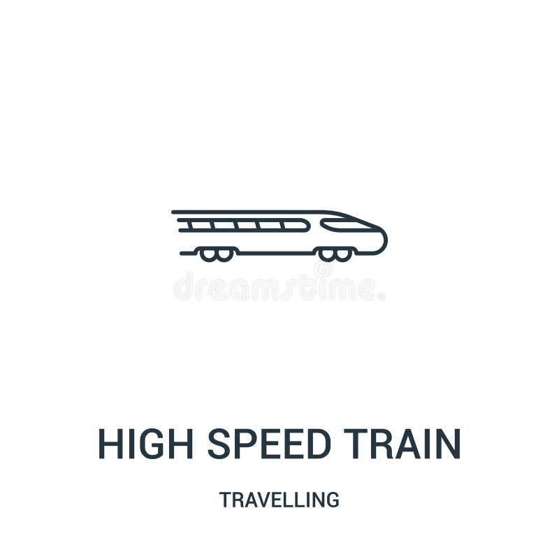 het pictogramvector van de hoge snelheidstrein van reizende inzameling Dunne van het de treinoverzicht van de lijnhoge snelheid h stock illustratie
