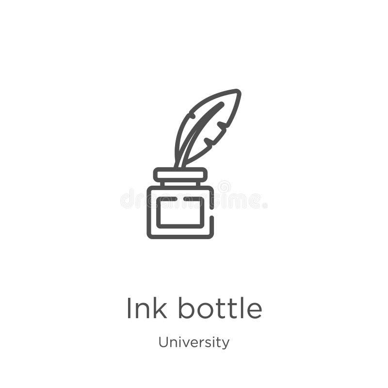 het pictogramvector van de inktfles van universitaire inzameling Dunne van het de flessenoverzicht van de lijninkt het pictogram  royalty-vrije illustratie