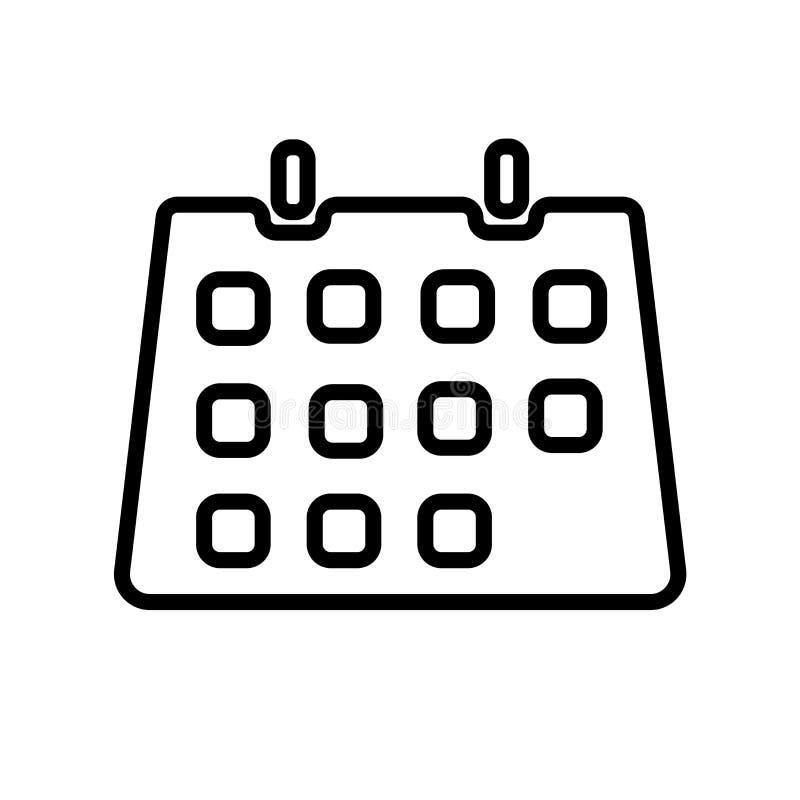 Het pictogramvector van de klaslokaalkalender op witte achtergrond, het teken van de Klaslokaalkalender, de lineaire symbool en e stock illustratie