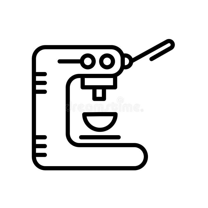 Het pictogramvector van de koffiemachine op witte achtergrond, het teken van de Koffiemachine, lijn en overzichtselementen in lin stock illustratie